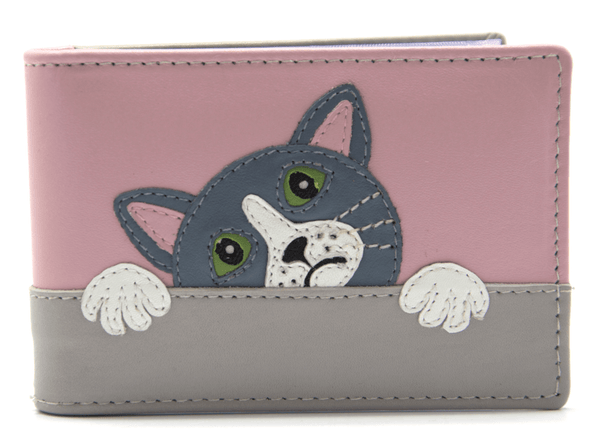 Mala Leather Taupe Feed Me Cat ID / Card Holder / Purse