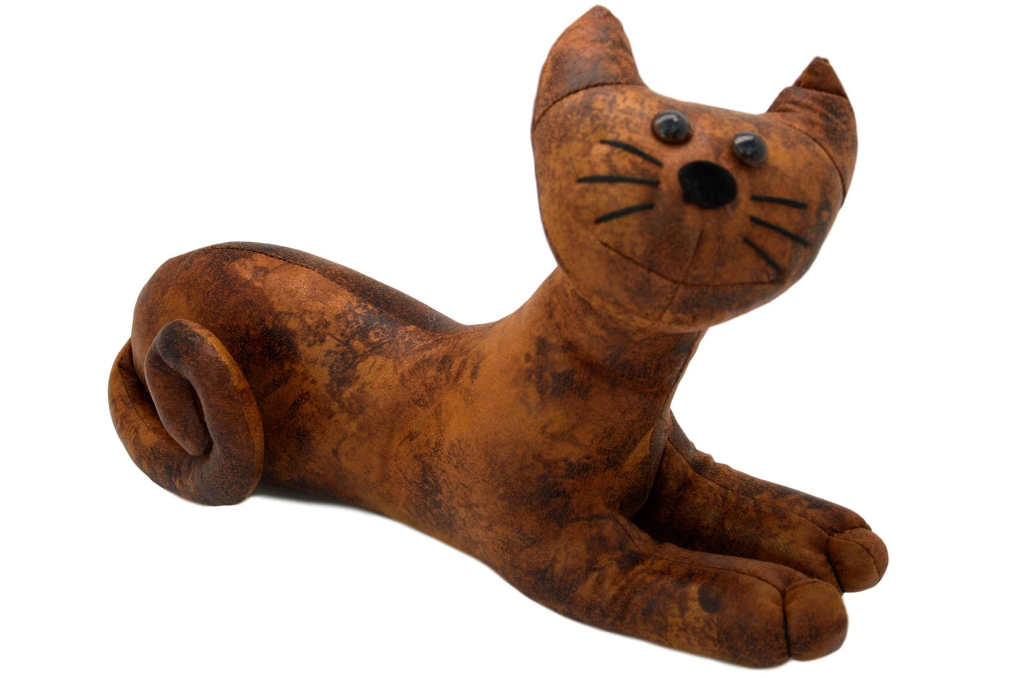 Faux Leather Small Lying Cat Door Stop