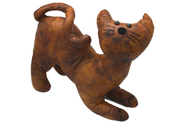 Faux Leather Crouching Cat Door Stop