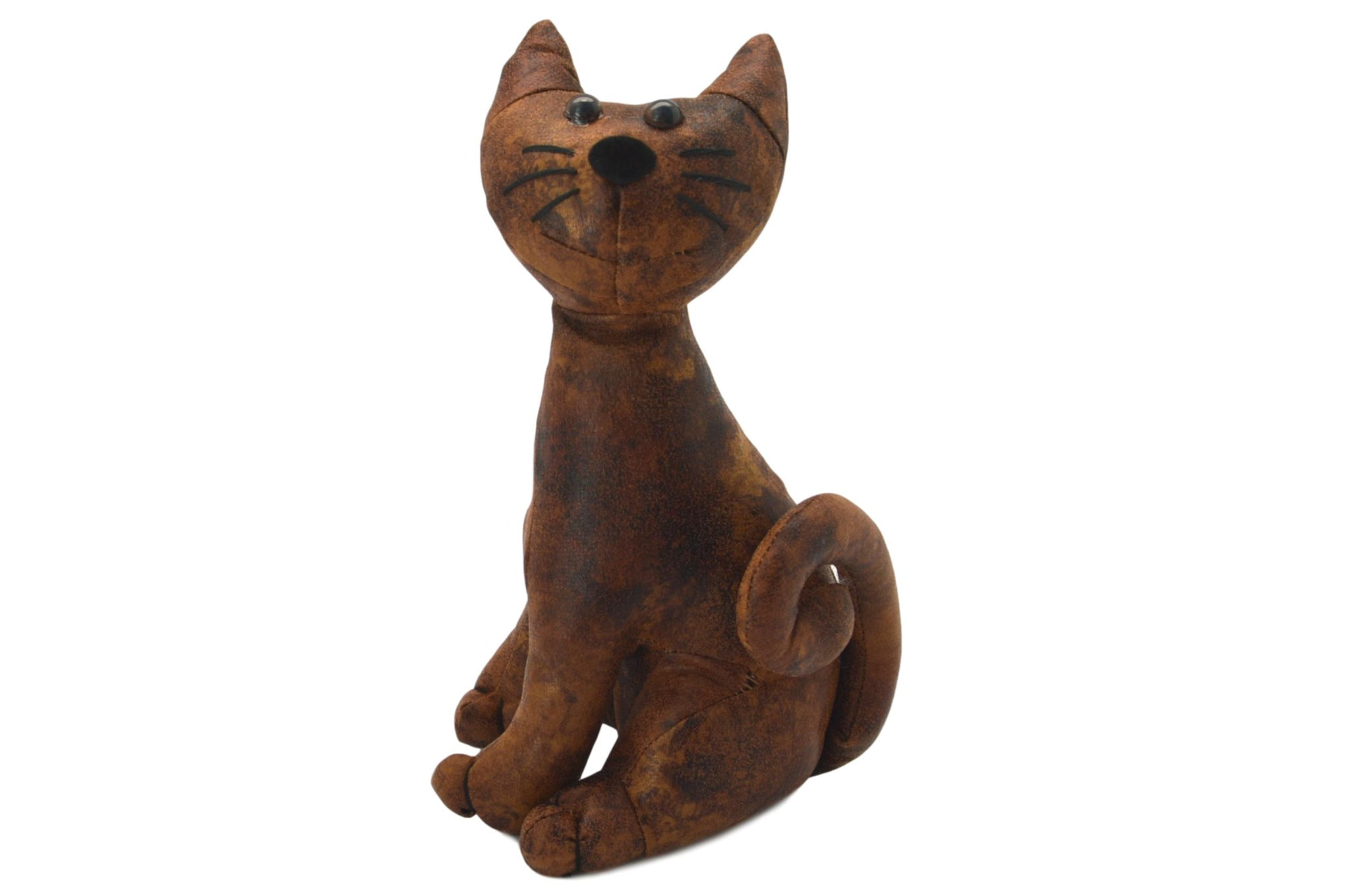 Faux Leather Sitting Cat Door Stop