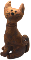 Faux Leather Large Sitting Cat Door Stop
