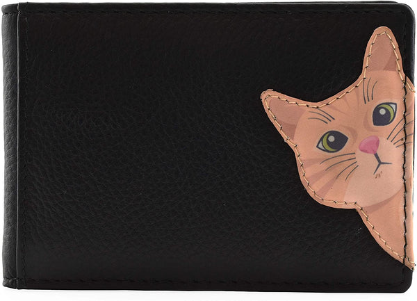 Mala Leather Cleo the Cat Black ID / Card Holder / Purse