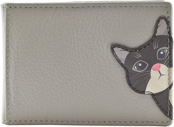 Mala Leather Cleo the Cat Grey ID / Card Holder / Purse