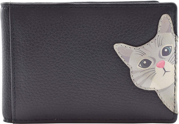 Mala Leather Cleo the Cat Navy ID / Card Holder / Purse