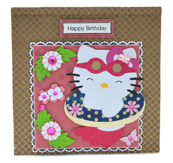 Hello Kitty Cat in a Swimming Pool Birthday Card