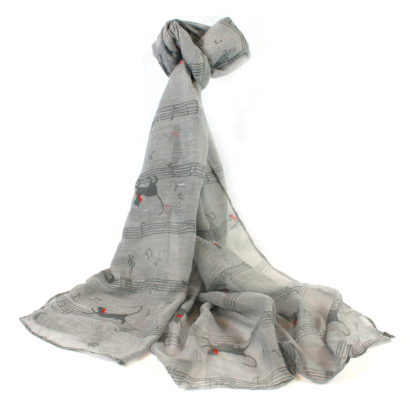 Grey Cats & Notes Scarf