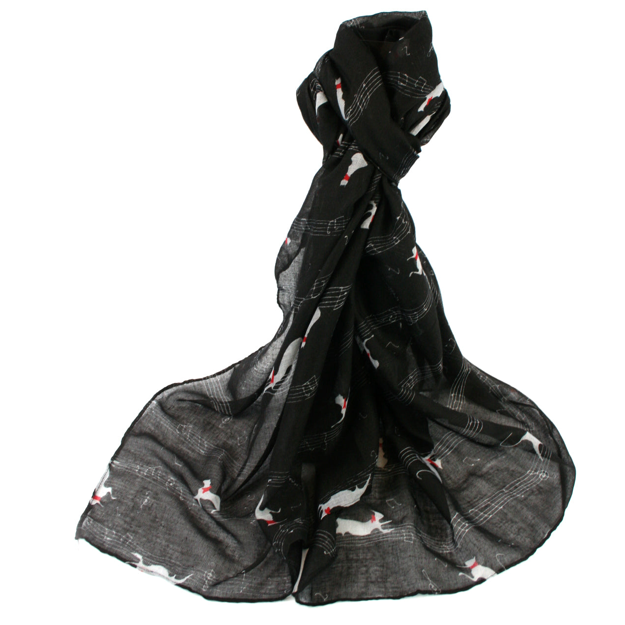 Black Cats & Notes Scarf