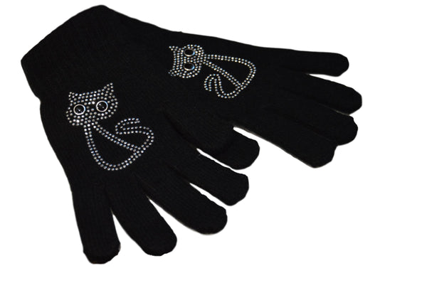 Cat Design Black Diamante Encrusted Gloves