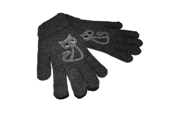 Cat Design Grey Diamante Encrusted Gloves