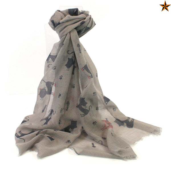 Grey Cat Print Scarf