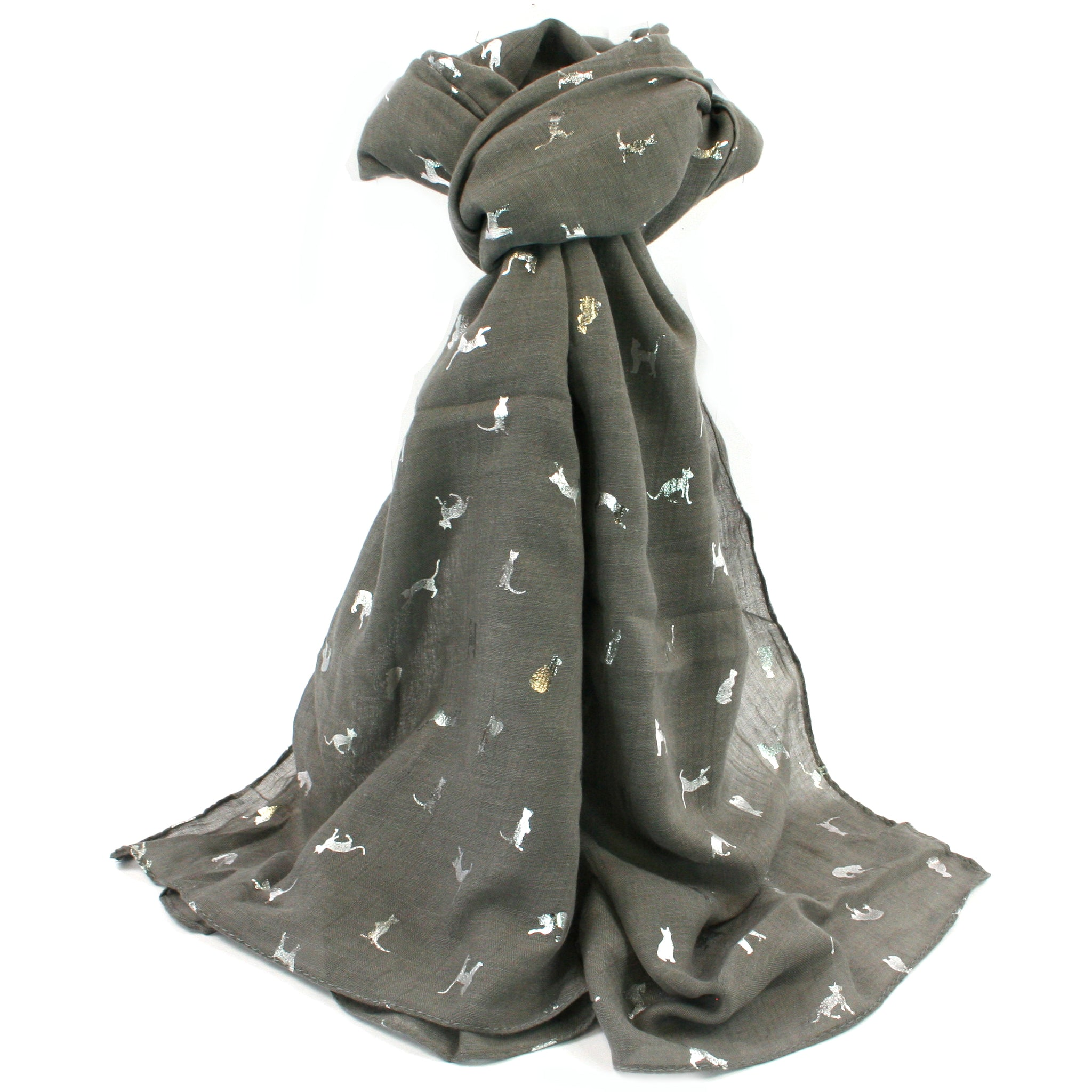Grey Biccari Cat Foil Scarf