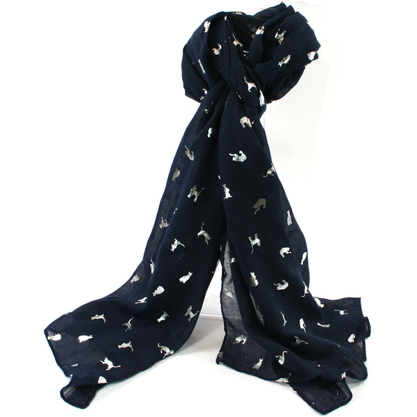 Blue Biccari Cat Foil Scarf