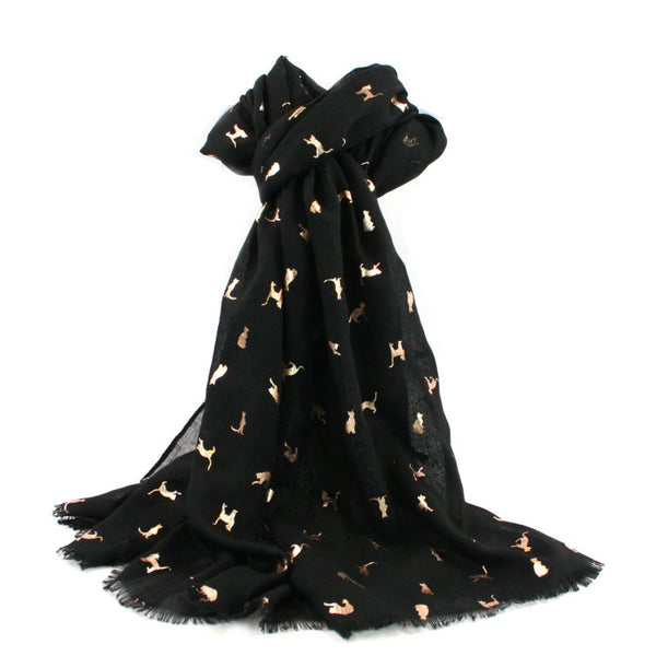 Black Biccari Cat Foil Scarf
