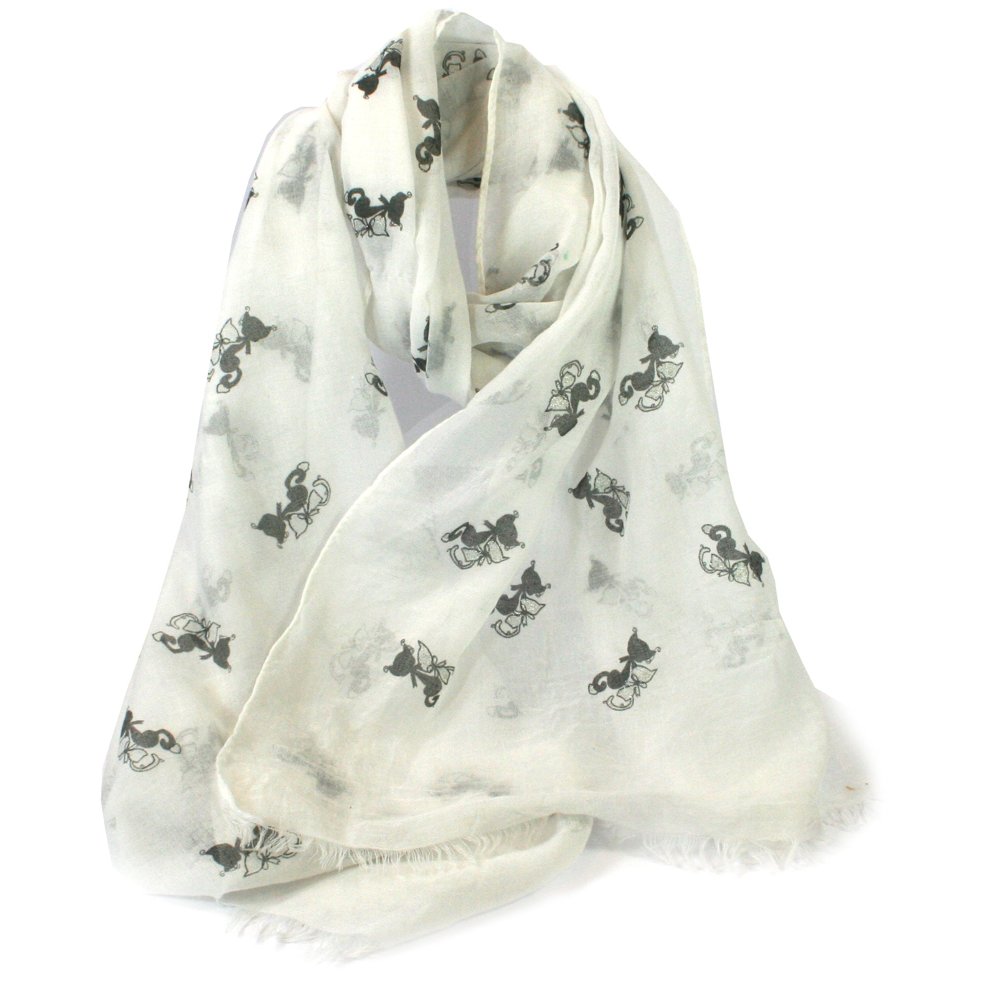 Cat Metallic Silver Foil Scarf Wrap Pashima Shawl Cotton Cat Kitten Lovers Gift