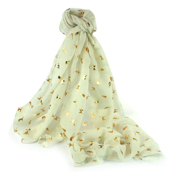 Cream Biccari Cat Foil Scarf