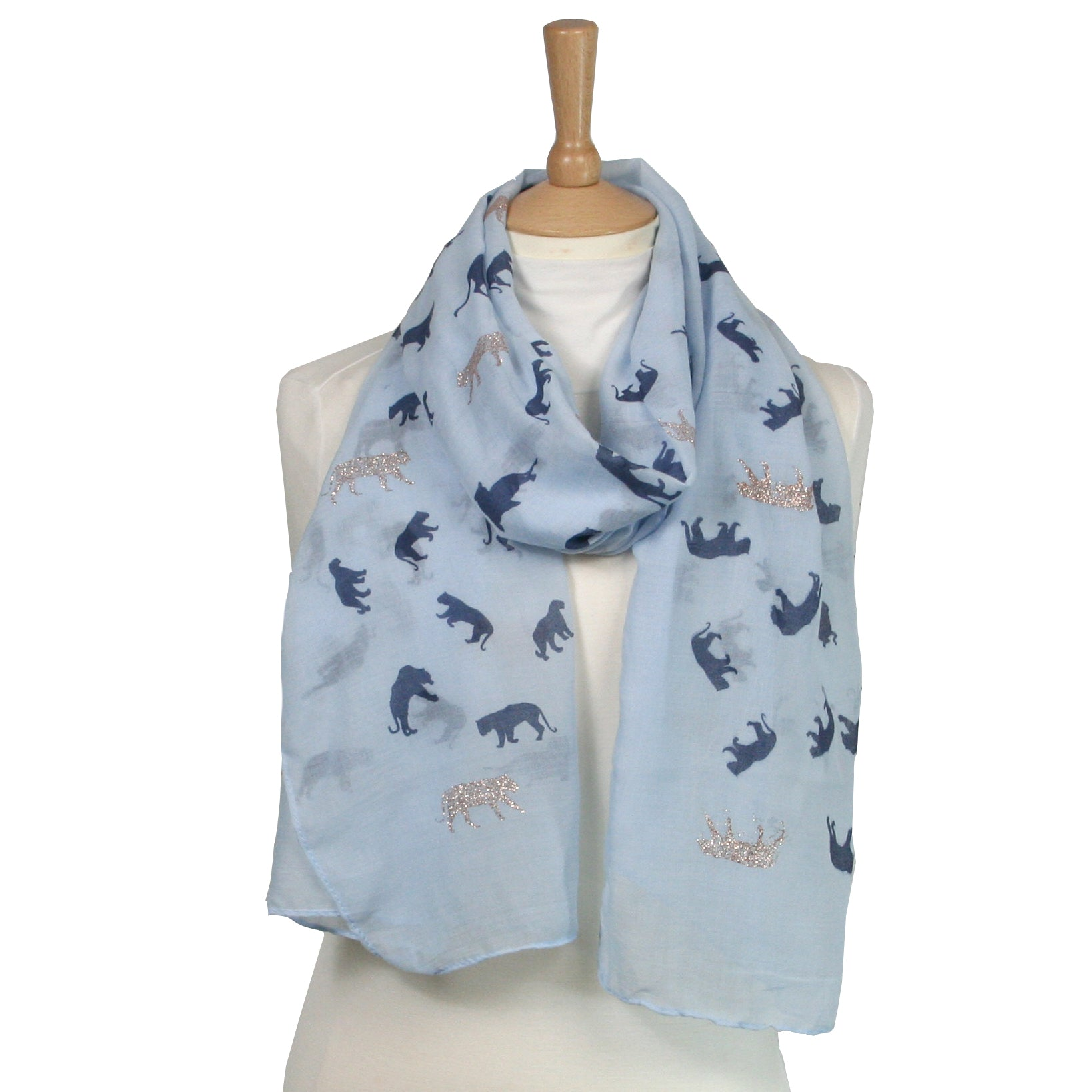 Wild Cat Glitter Scarf Light Blue