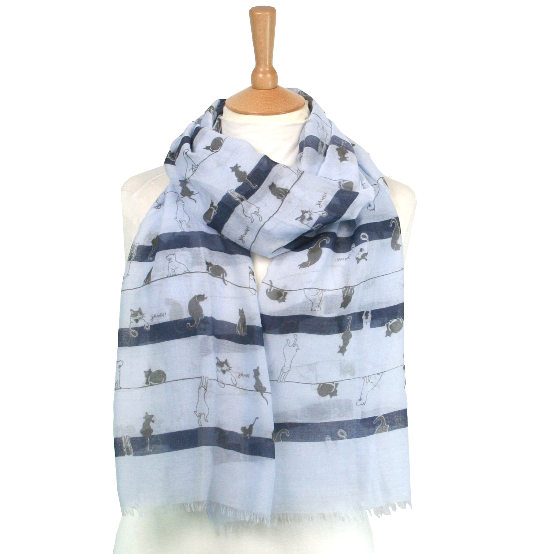 Nabi Cat on a Line Scarf Blue