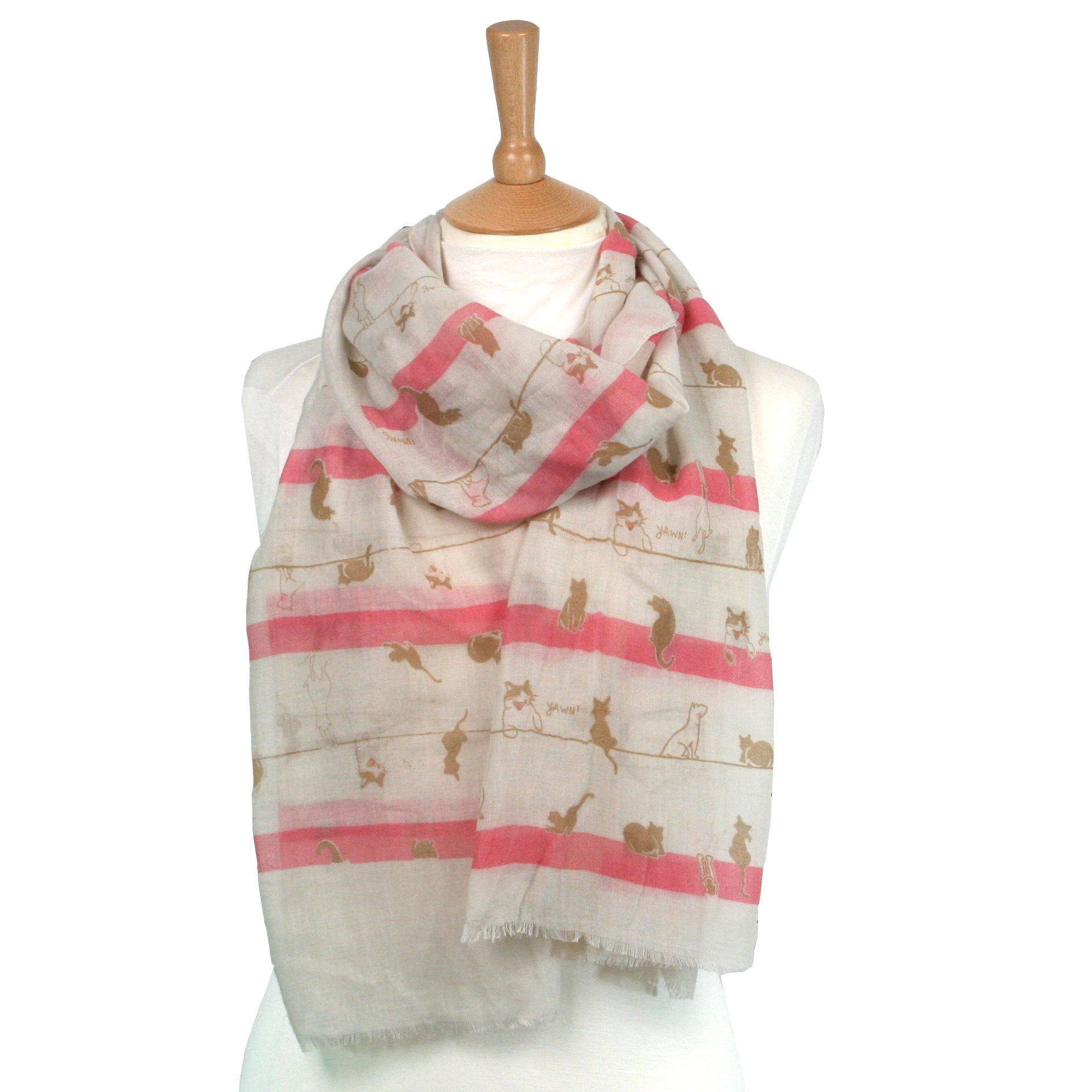 Nabi Cat on a Line Scarf Pink