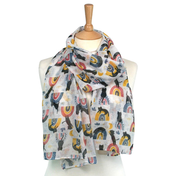 Black Cat on a Rainbow White Scarf