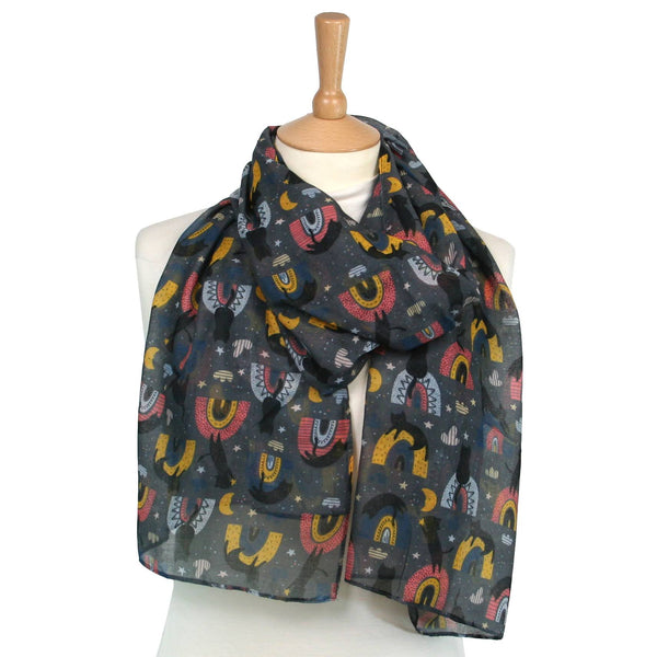Black Cat on a Rainbow Grey Scarf
