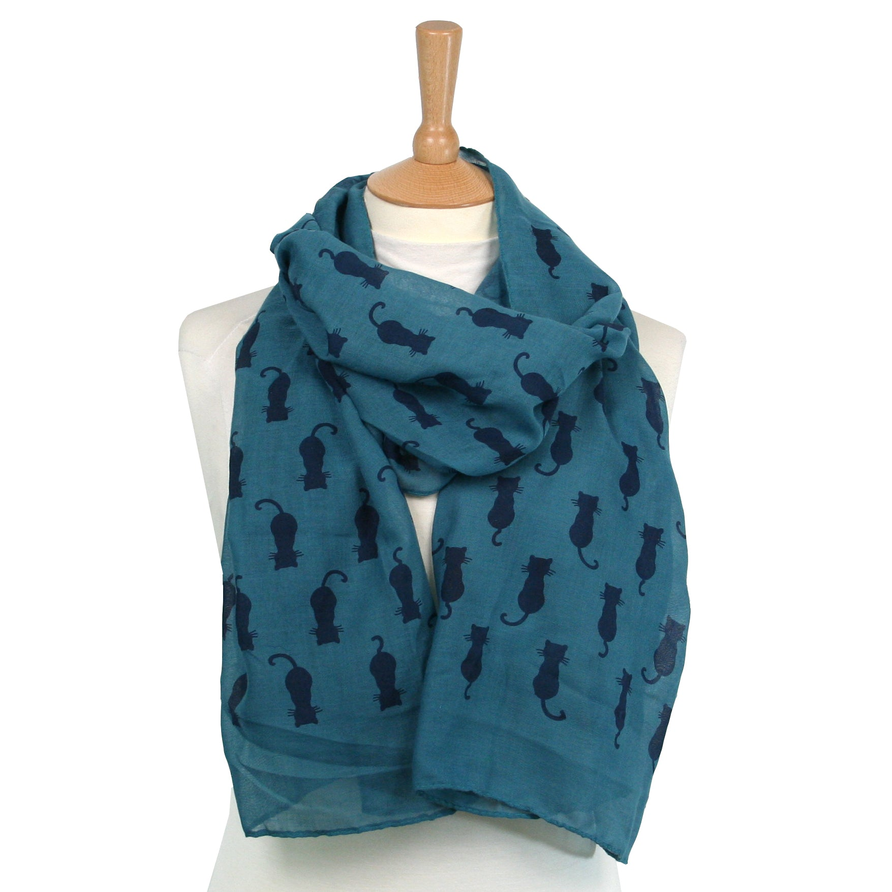 Black Cat with Whiskers Teal Scarf