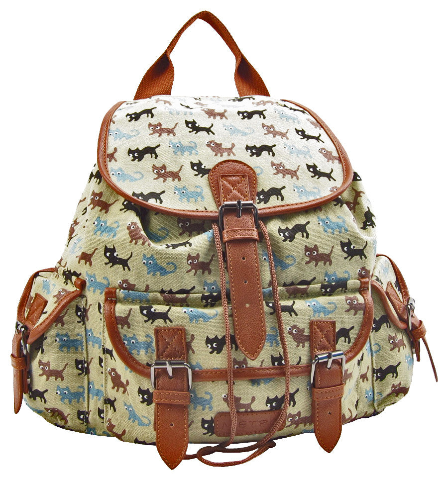 Beige Cat Pattern Canvas Duffle Bag