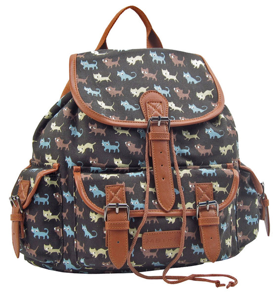 Black Cat Pattern Canvas Rucksack Duffle Bag