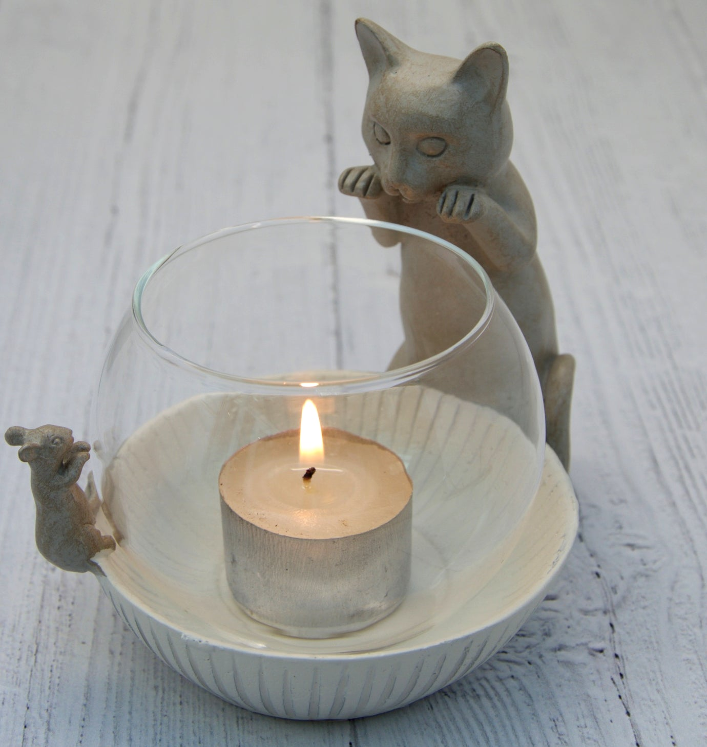 Cat and Mouse Tea Light Holder
