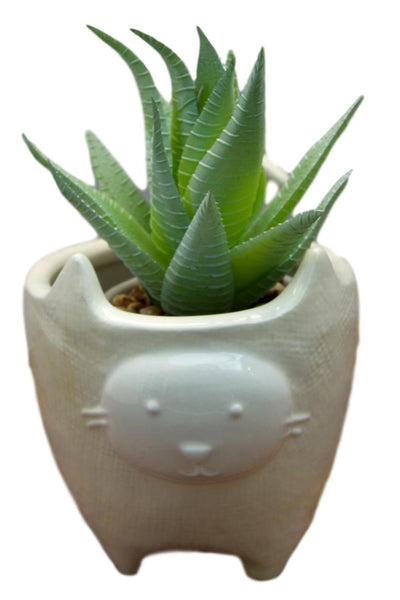 White Cat Ceramic Pot