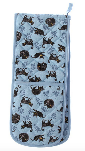 Cat Nap Blue Double Oven Gloves