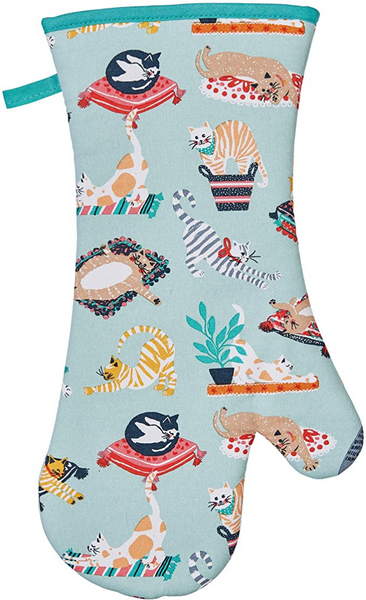 Kitty Cats Green Cat Oven Glove / Gauntlet