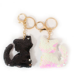 Pair of Black & White Cat Sequin Keyrings