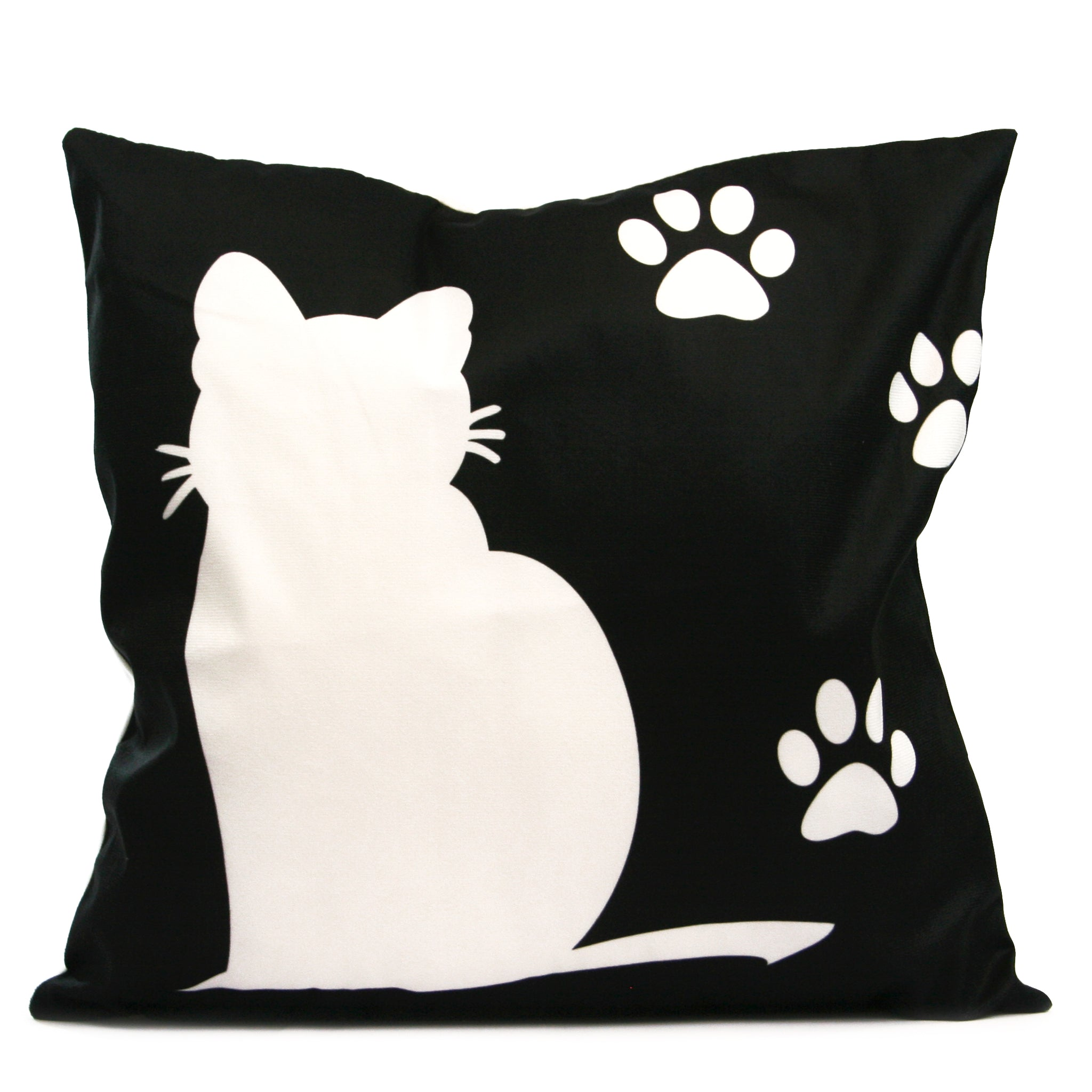 White Cat on Black Cat Cushion