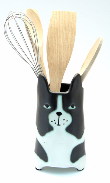 Black & White Cat Utensil Holder | Vase