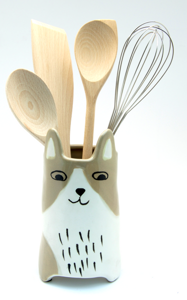 Brown & White Cat Utensil Holder | Vase