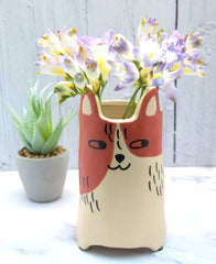 Ginger & White Cat Utensil Holder | Vase