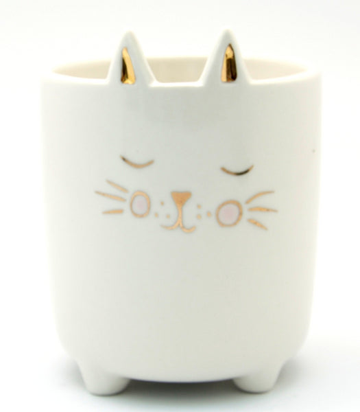 Cute White Cat Ceramic Pot