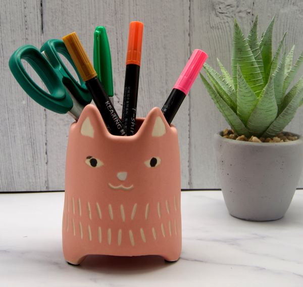 Pink Cat Ceramic Pot