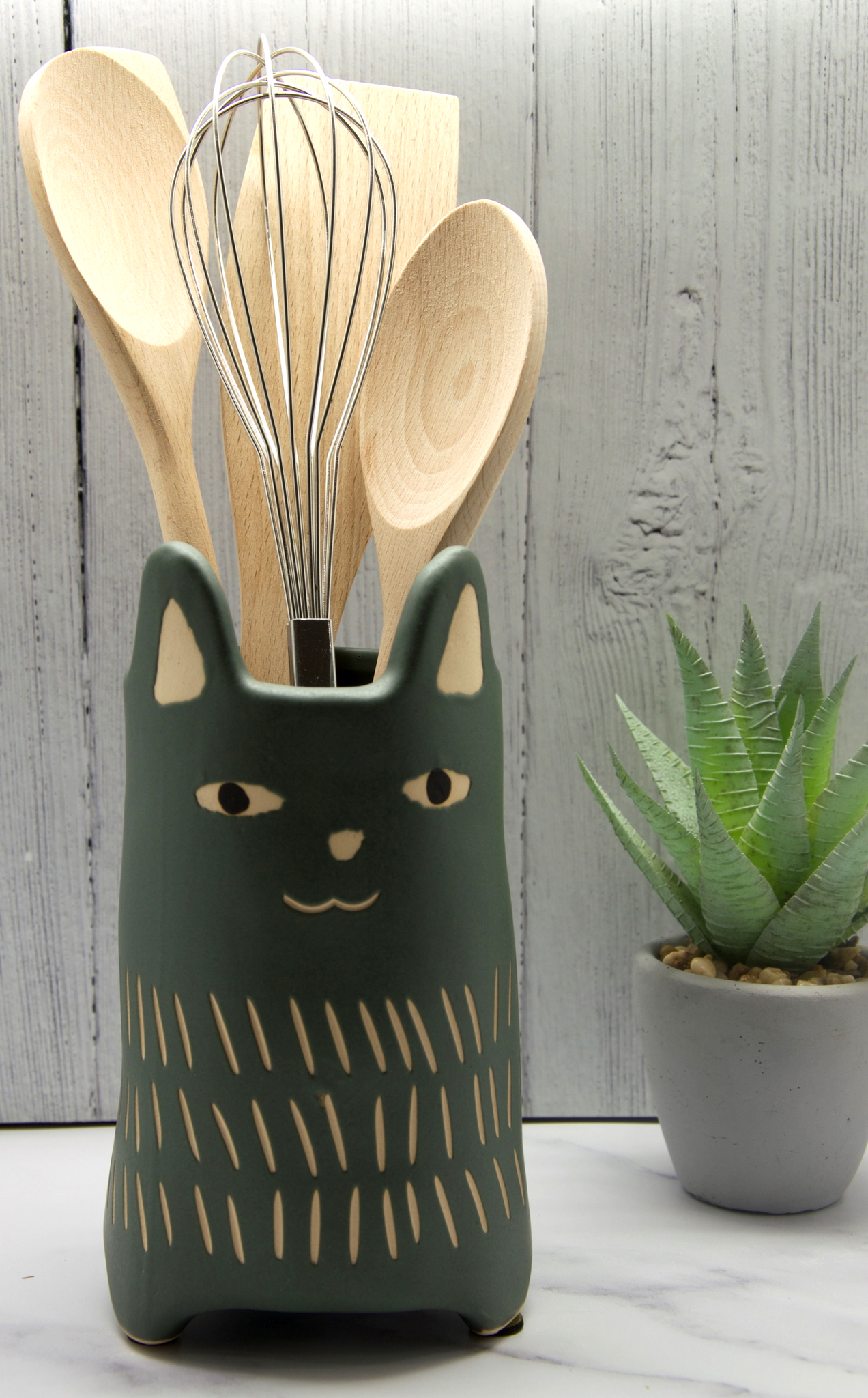 Dark Grey Cat Utensil Holder | Vase