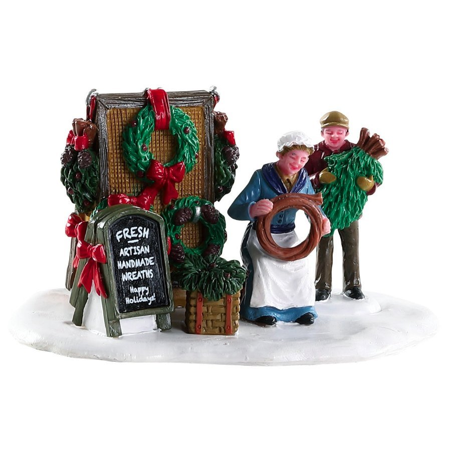 Lemax Christmas Village Handmade Wreaths #83362 Table Accent