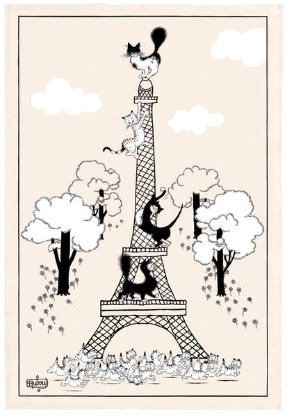 Escalade Tour Eiffel (Climbing the Eiffel Tower) Dubout Cats Tea Towel