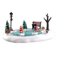 Lemax Christmas Village Victorian Skaters Animated Table Accent #94527
