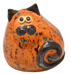 Ceramic Brown Spotty Chubby Cat