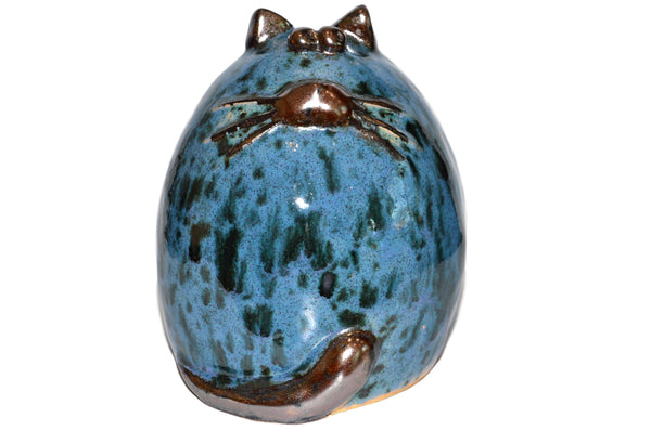 Ceramic Pale Blue Fat Cat