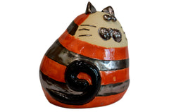 Ceramic Stripey Ginger Chubby Cat