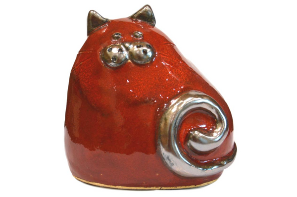Ceramic Red Chubby Cat