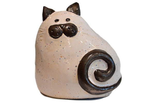 Ceramic White Chubby Cat