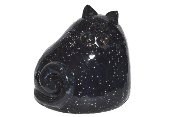 Ceramic Black Chubby Cat