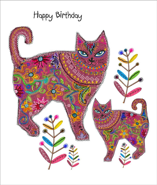 Cats in the Garden Birthday Card