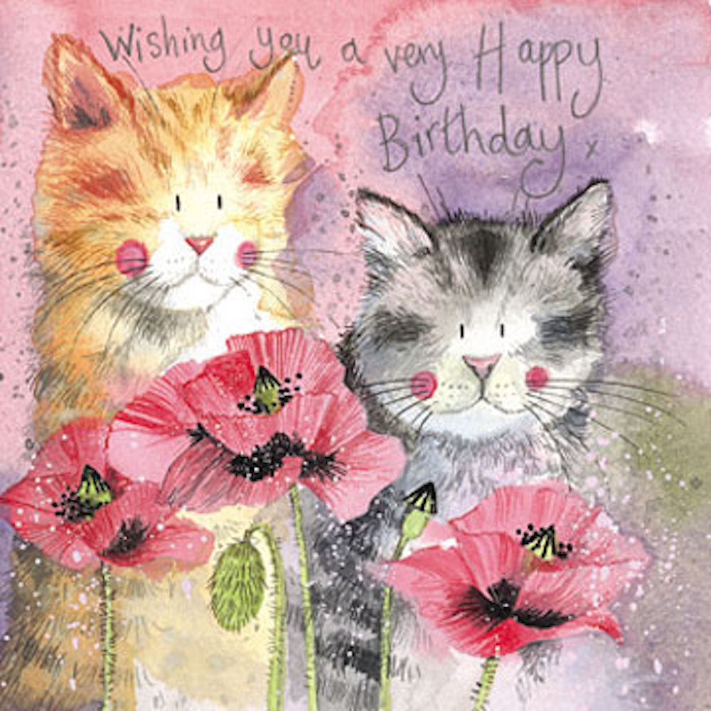 Cats and Poppies Cat Birthday Card